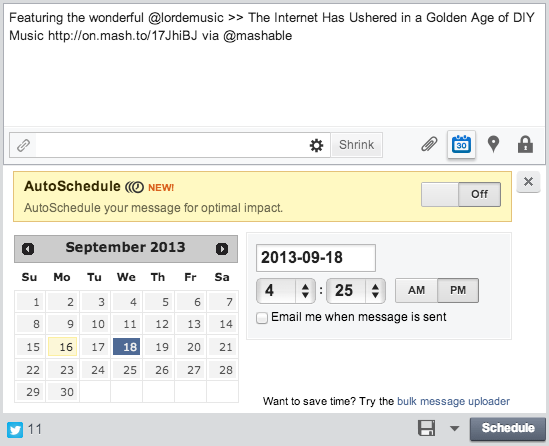 schedule tweets and Google + posts