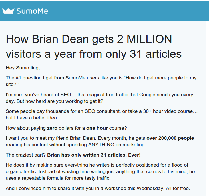 How Brian Dean gets 2 MILLION visitors a year from only 31 articles SumoMe marketing Deception