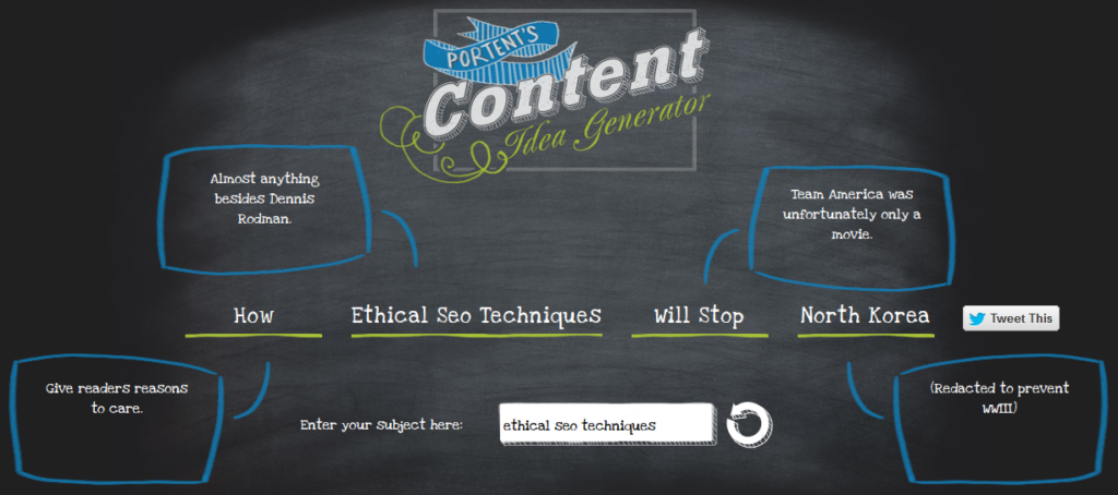 Ethical seo techniques for great on page seo for Portent idea generator
