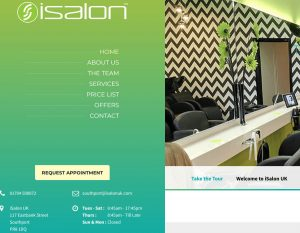 hair salon web design sample - green