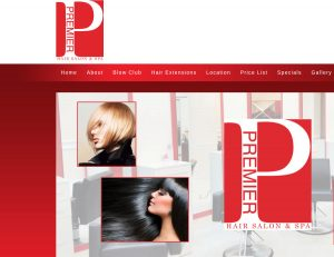 hair salon web design sample - red