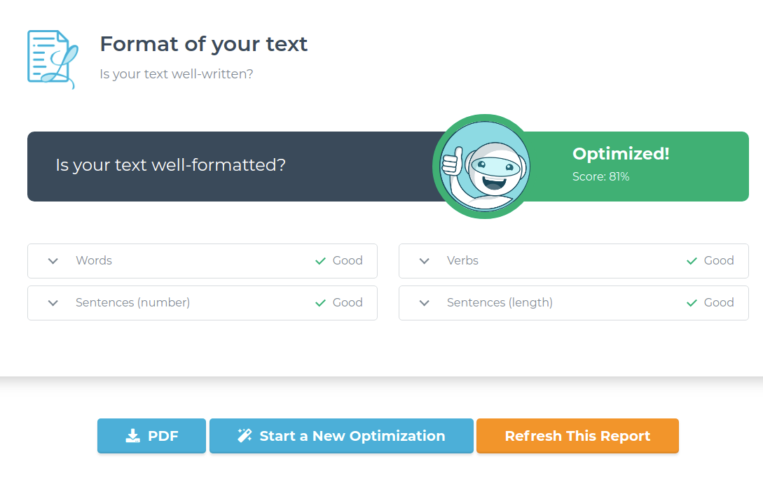 10 Review your formatting audit in Text Optimizer