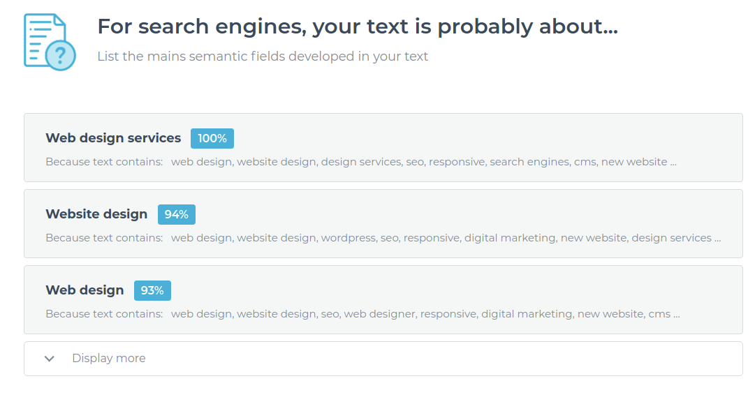 Note SEO results in Text Optimizer